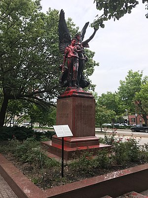 Red paint splashed on statue, Confederate Soldiers and Sailors Monument, Mount Royal Avenue, Baltimore, MD (37048041065).jpg