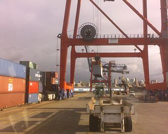 Red Hook Container Terminal - View of containers and cranes at terminal
