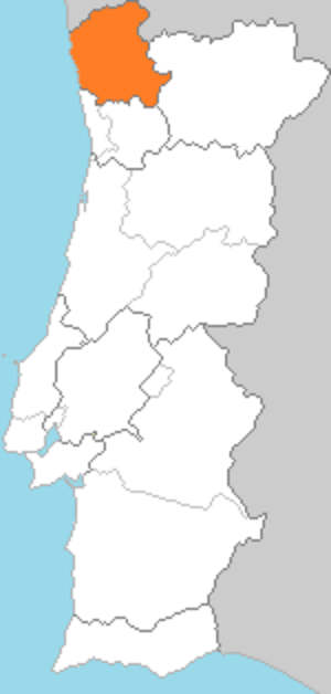 Minho Province - Location of the region of Minho in Portugal.