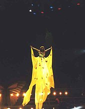 Velasquez performing in a long yellow gown while hanging on a harness