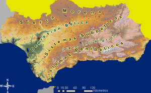 Baetic Depression - The major topographic features of Andalusia.