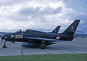 Royal Netherlands Air Force - F-84F Thunderstreaks of 315 Squadron RNAF fitted with extra fuel tanks at RAF Chivenor in 1969