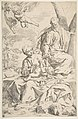 Rest on the flight into Egypt, Mary holding the infant Christ while St. Joseph hands him a fruit MET DP815019.jpg
