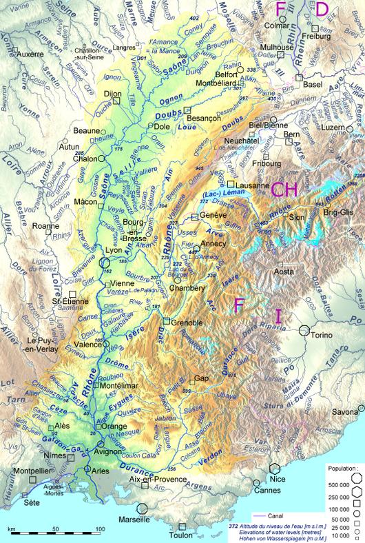 Carta di quasi tutti affluenti d'una lunghezza di piu che 36 km