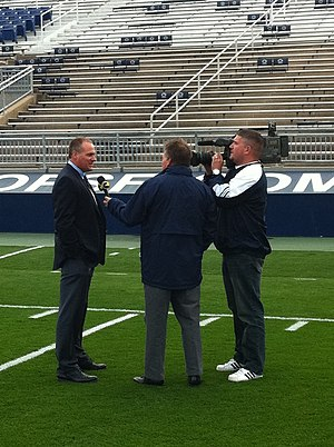 Rich Rodriguez - Rich Rodriguez gives an interview in Beaver Stadium before the day of the 2010 Michigan vs. Penn State game