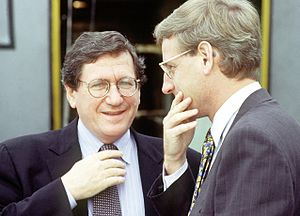 Carl Bildt - Bildt and Richard Holbrooke before peace talks in Sarajevo, Bosnia-Herzegovina in October 1995.