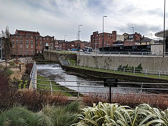 River Roch - Flowing in front of Rochdale Interchange and Number One Riverside