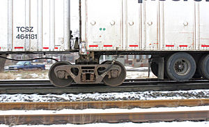 Roadrailer - Side view of a Roadrailer's regular truck showing the connection between two trailer bodies. This image shows only one fifth wheel.