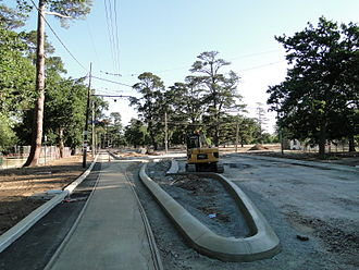 Trams in Ballarat - Roadworks in Ballarat, Victoria, to realign road and tram track crossing.