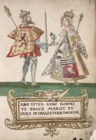 Elizabeth de Burgh - Robert the Bruce and Elizabeth de Burgh, from the Seton Armorial.