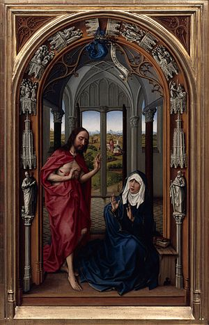 Miraflores Altarpiece - Image: Rogier van der Weyden The Altar of Our Lady (Miraflores Altar) Google Art Project (right panel without frame)