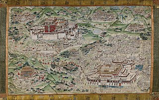 thangka painting depicting Lhasa and its surroundings