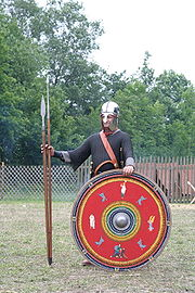 A re-enactor, portraying a legionary at the end of the 3rd century