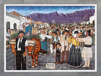 "Picture of painted tiles ""Romeria de los Labradores"" (Pilgrimage of the farmers)"