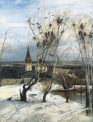 Alexei Savrasov - The Rooks Have Come Back was painted by Savrasov near Ipatiev Monastery in Kostroma.