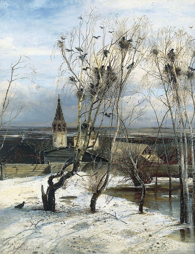 Les Freux sont arrivés (1871), toile du peintre russe Alexis Savrassov (Galerie Tretiakov de Moscou). (définition réelle 1535×2000*)