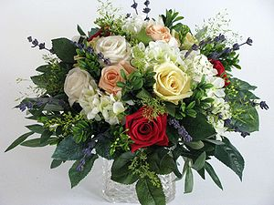 Artificial flower - Flower bouquet with prepared rose blossoms and silk flowers