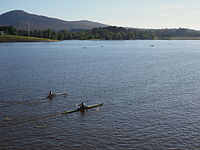 Rowers on Lake Burley Griffin
