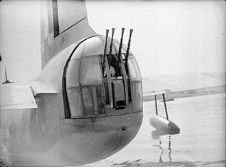 Short Sunderland - The Frazer-Nash FN13 rear turret of a Sunderland of No 210 Squadron at Oban, August 1940. The Sunderland was the first RAF flying boat to be fitted with power-operated gun turrets.
