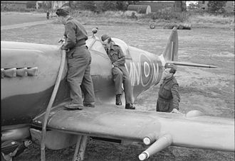 350th Squadron (Belgium) - Spitfires of No. 350 Squadron being refueled at RAF Lympne.