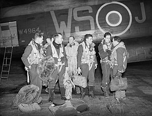 No. 9 Squadron RAF - A No. 9 Squadron aircrew shortly after returning from a raid in January 1944