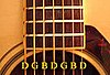 A seven-string guitar with the open-strings annotated with the notes D-G-B-D-G-B-D