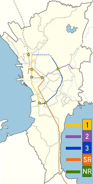 Strong Republic Transit System - The initial situation of the railway and rapid transit lines, mid 2003. A star indicates an interchange station.