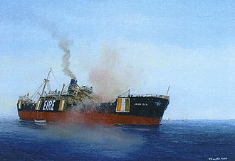 "Éire - Irish Oak torpedoed mid-Atlantic, oil by Kenneth King, showing ""EIRE"" prominently. (National Maritime Museum of Ireland)"