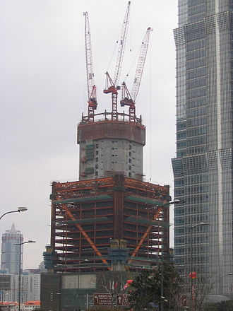 Shanghai World Financial Center - Under construction in February 2006.