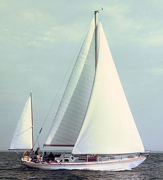 Sail components - Bermuda-rigged Yawl with triangular jib and main and mizzen sails with cross-cut construction—parallel panels, sewn together.