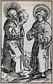 Saint Cosmas and Saint Damian. Ink drawing after a woodcut b Wellcome V0033575.jpg