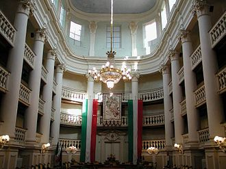 Flags of Napoleonic Italy - The eighteenth-century Sala del Tricolore, now site of the Reggio Emilia Town Council. Here, on 7 January 1797, the first tricolor of the Repubblica Cispadana was adopted.