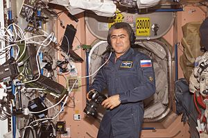 Salizhan Sharipov - Sharipov using a communication system in the Unity node of the ISS.