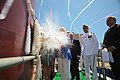 Sally Monsoor christens the future USS Michael Monsoor (DDG 1001) (27754645385).jpg