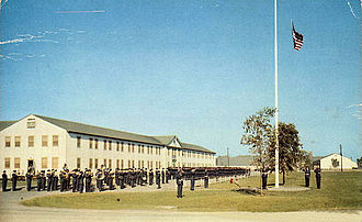 Air Training Command - Retreat formation in front of Base HQ, Sampson AFB, New York