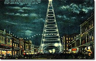 San Jose electric light tower - San Jose Moonlight Tower postcard