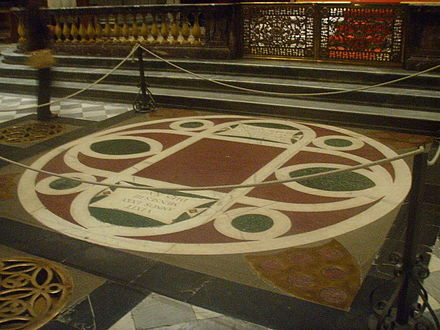 The floor tomb of Cosimo de' Medici in the Basilica of San Lorenzo, Florence San Lorenzo, tomba di Cosimo il Vecchio.JPG