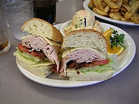 French bread sandwich with chips
