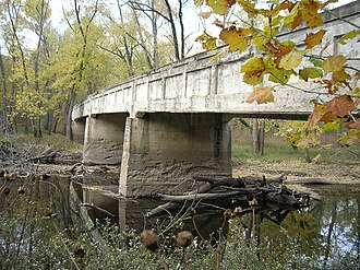 Sangamon River - A concrete bridge over the Sangamon River in Robert Allerton Park, November 2007.