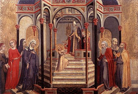 fra carnevale's presentation of the virgin Presentation of jesus in the temple, 1442 by fra angelico early renaissance religious painting basilica di san marco, florence, italy.