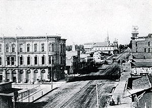 Santa Barbara, California - State Street in the 1880s looking north from Canon Perdido Street