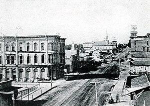 Santa Barbara, California - State Street in the 1880s looking north from Canon Perdido Street