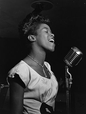 Sarah Vaughan, possibly Cafe Society, NYC, ca....