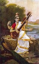 De hindoegodin Saraswati met een veena