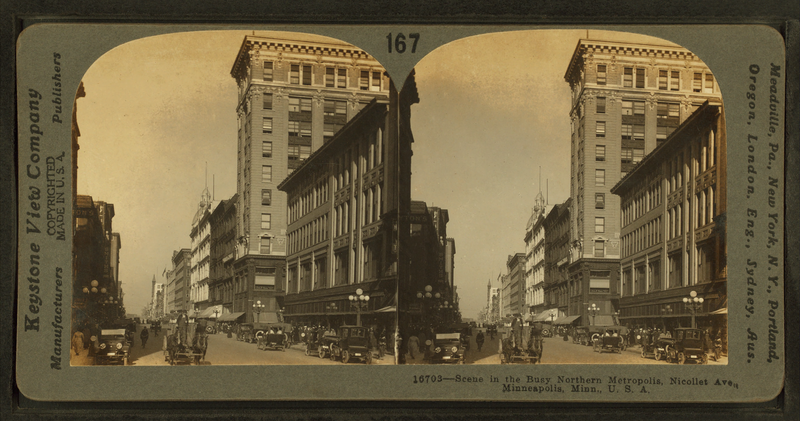 File:Scene in the busy northern metropolis, Nicollet Ave., Minneapolis, Minn., U.S.A, by Keystone View Company.png
