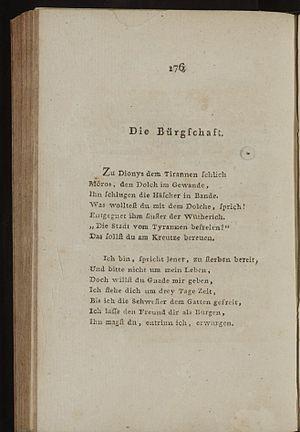 Die Bürgschaft - 1799 Musen-Almanach, p. 176