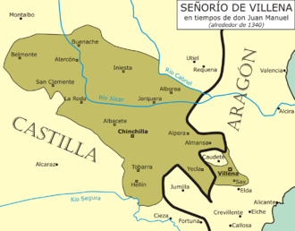 Juan Manuel, Prince of Villena - Extension of the Seigneury of Villena at the time of Juan Manuel, around the year 1340.