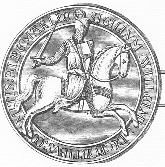 "William de Forz, 4th Earl of Albemarle - Seal (reverse) of William de Forz. Legend: ""SIGILLUM WILLELMI DE FORTIBUS COMITIS ALBEMARLIE"" (Seal of William de Forz, Count/Earl  of Albemarle). On his shield are shown his arms: Gules a cross patonce vair"