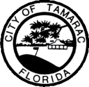 Tamarac, Florida - Black-and-white version of the first official city seal, used from 1963-1991