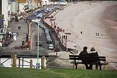 Seaton, Seated viewpoint overlooking beach and seafront - geograph.org.uk - 1720693.jpg